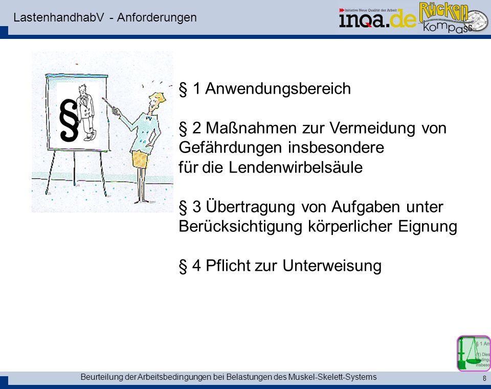 Beurteilung der Arbeitsbedingungen bei Belastungen des Muskel-Skelett-Systems 8 LastenhandhabV - Anforderungen § 1 Anwendungsbereich § 2 Maßnahmen zur