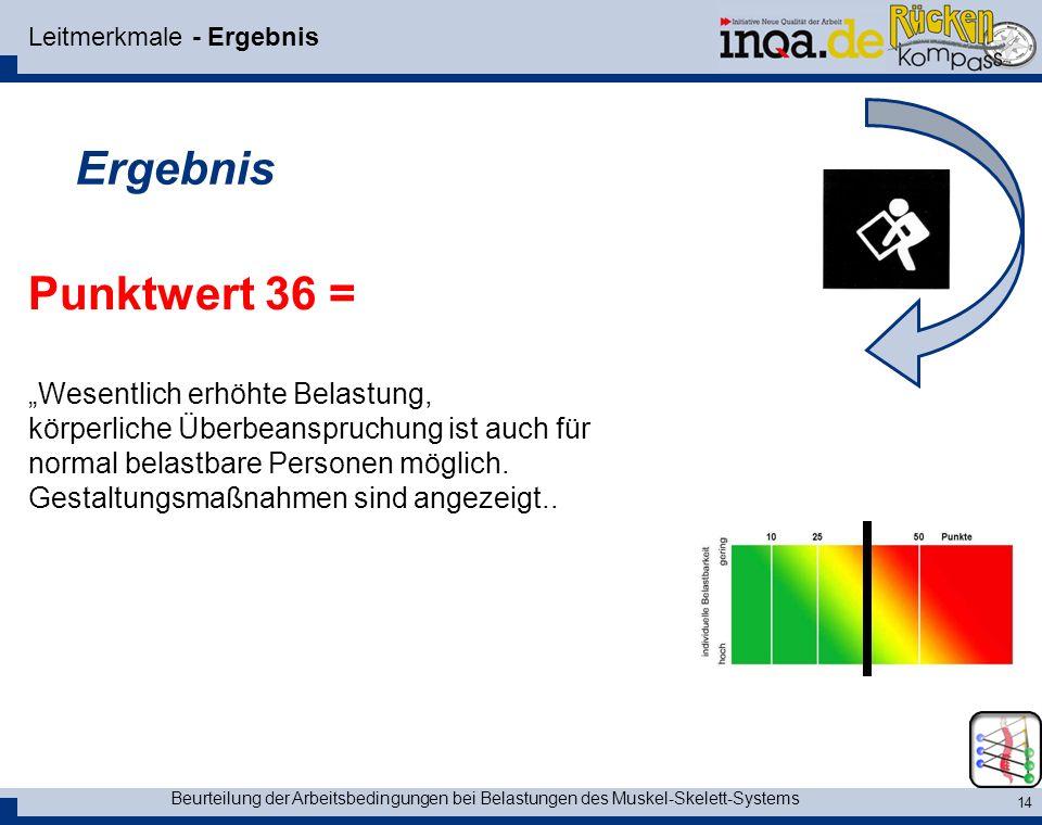 Beurteilung der Arbeitsbedingungen bei Belastungen des Muskel-Skelett-Systems 14 Leitmerkmale - Ergebnis Ergebnis Punktwert 36 = Wesentlich erhöhte Be