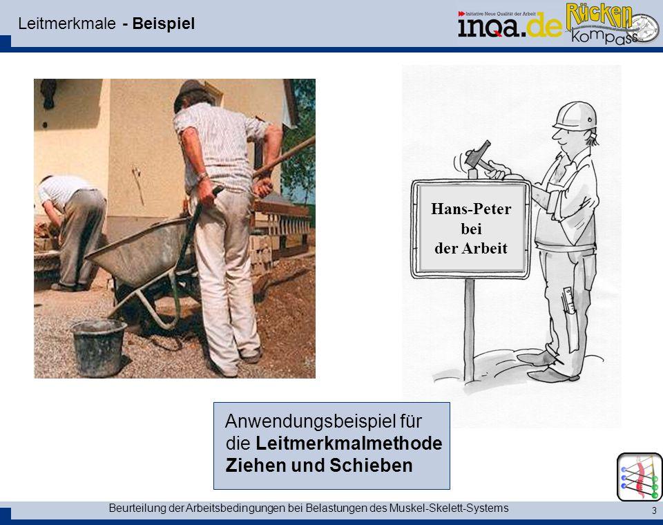 Beurteilung der Arbeitsbedingungen bei Belastungen des Muskel-Skelett-Systems 3 Leitmerkmale - Beispiel Hans-Peter bei der Arbeit Anwendungsbeispiel f