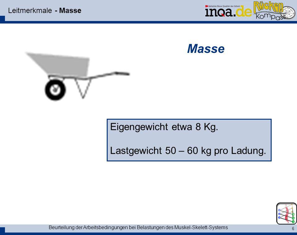 Beurteilung der Arbeitsbedingungen bei Belastungen des Muskel-Skelett-Systems 6 Leitmerkmale - Masse Eigengewicht etwa 8 Kg. Lastgewicht 50 – 60 kg pr