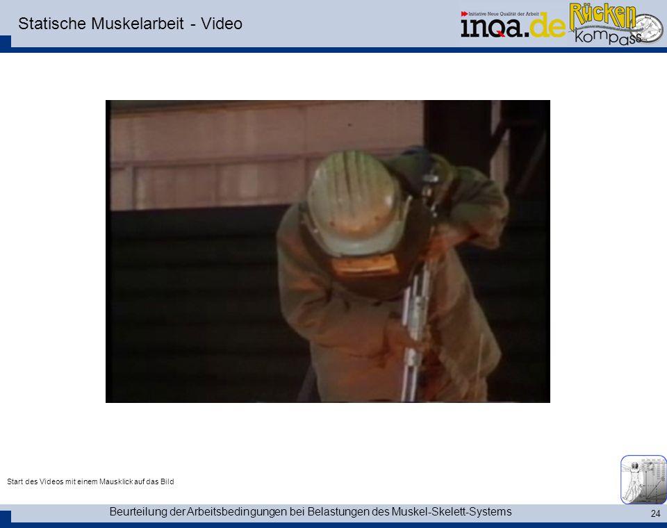 Beurteilung der Arbeitsbedingungen bei Belastungen des Muskel-Skelett-Systems 24 Statische Muskelarbeit - Video Start des Videos mit einem Mausklick a