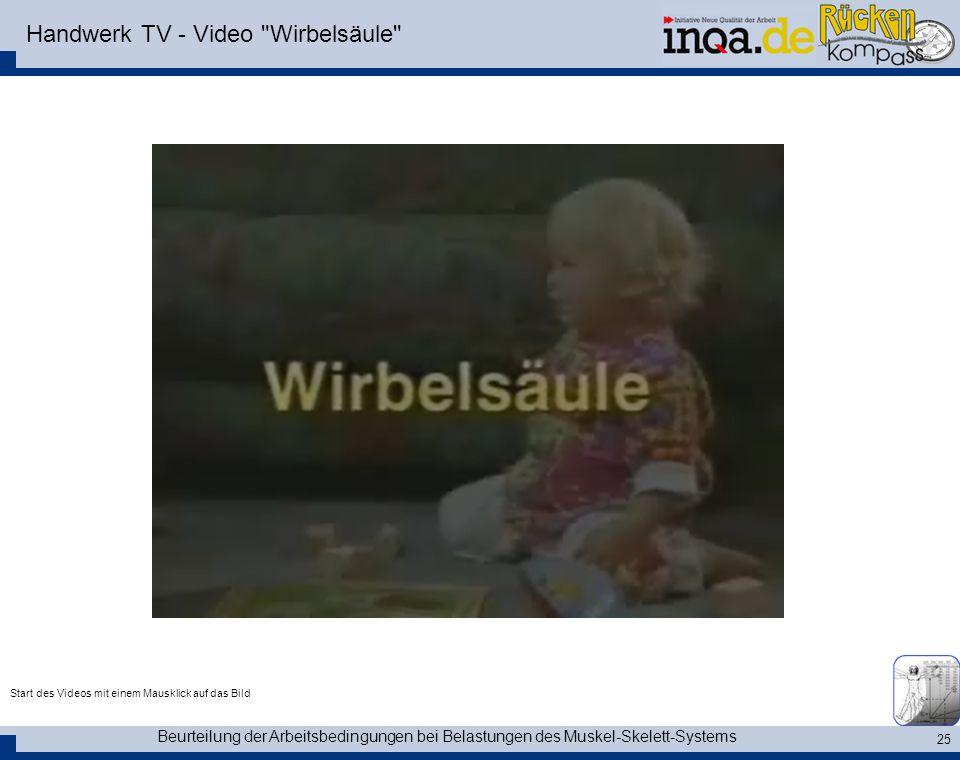 Beurteilung der Arbeitsbedingungen bei Belastungen des Muskel-Skelett-Systems 25 Handwerk TV - Video