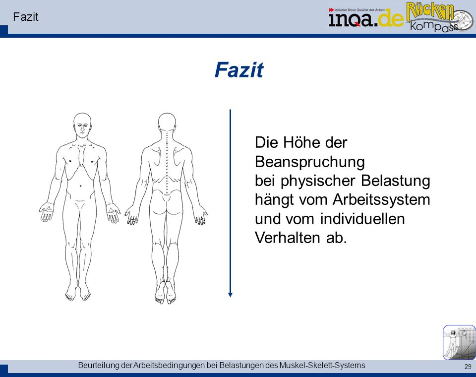 Beurteilung der Arbeitsbedingungen bei Belastungen des Muskel-Skelett-Systems 29 Fazit Die Höhe der Beanspruchung bei physischer Belastung hängt vom A