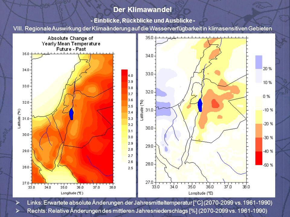 Der Klimawandel - Einblicke, Rückblicke und Ausblicke - VIII.