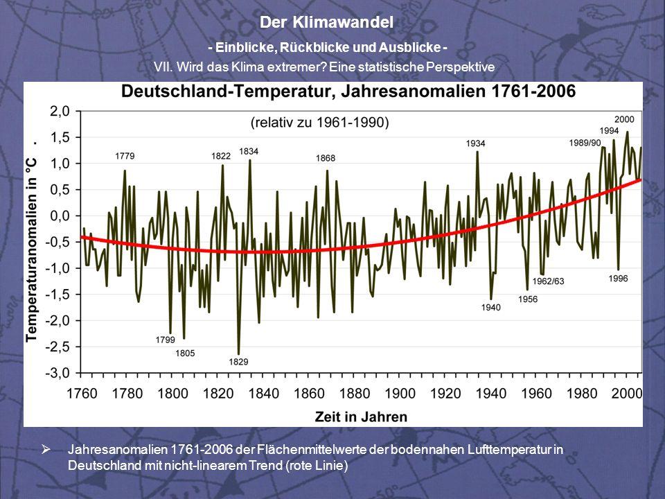 Der Klimawandel - Einblicke, Rückblicke und Ausblicke - VII. Wird das Klima extremer? Eine statistische Perspektive Jahresanomalien 1761-2006 der Fläc