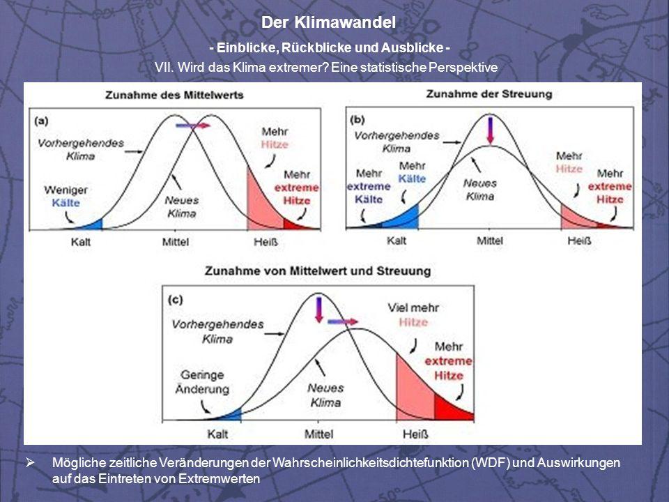 Der Klimawandel - Einblicke, Rückblicke und Ausblicke - VII. Wird das Klima extremer? Eine statistische Perspektive Mögliche zeitliche Veränderungen d