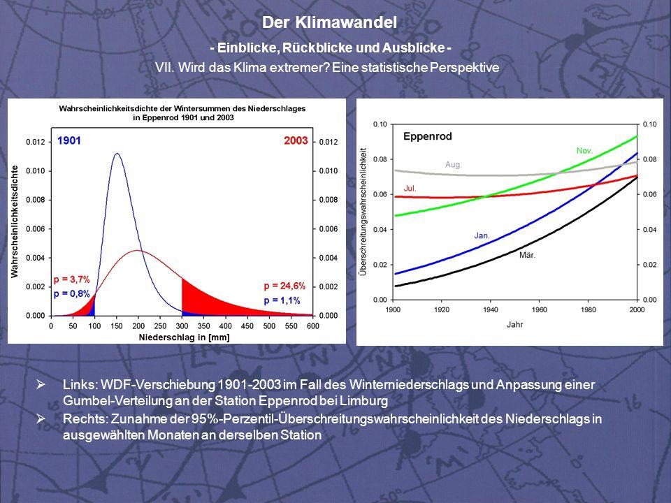 Der Klimawandel - Einblicke, Rückblicke und Ausblicke - VII. Wird das Klima extremer? Eine statistische Perspektive Links: WDF-Verschiebung 1901-2003
