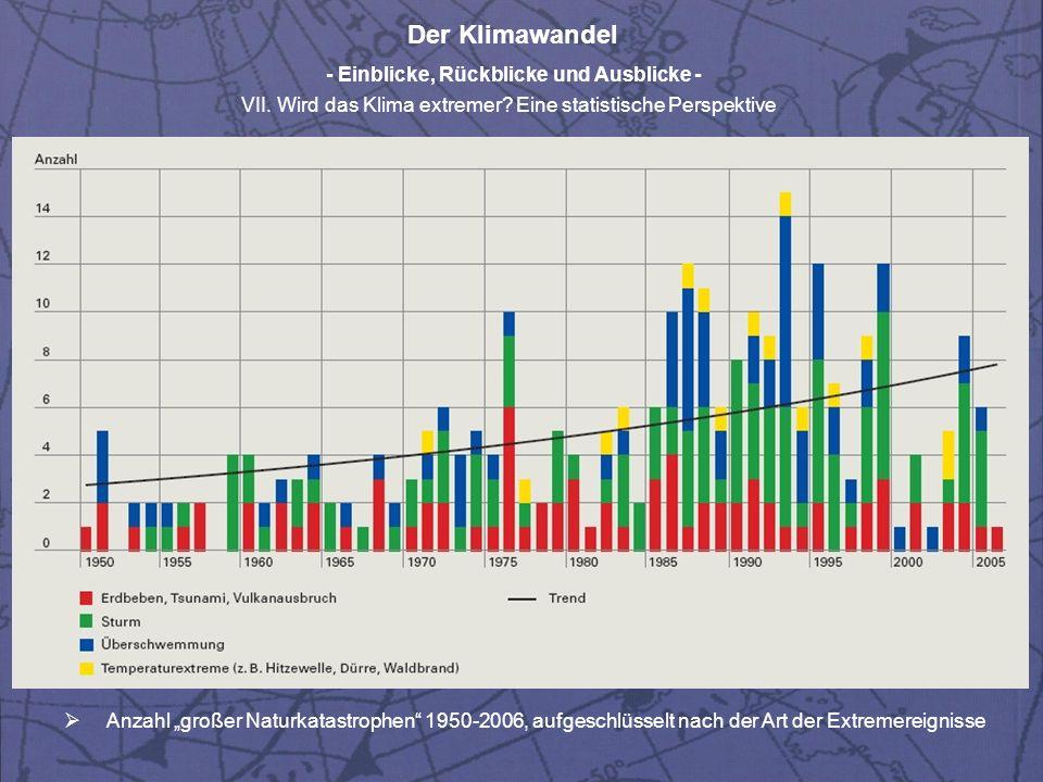 Der Klimawandel - Einblicke, Rückblicke und Ausblicke - VII. Wird das Klima extremer? Eine statistische Perspektive Anzahl großer Naturkatastrophen 19