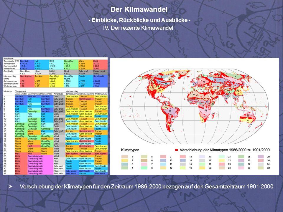 Der Klimawandel - Einblicke, Rückblicke und Ausblicke - IV. Der rezente Klimawandel Verschiebung der Klimatypen für den Zeitraum 1986-2000 bezogen auf