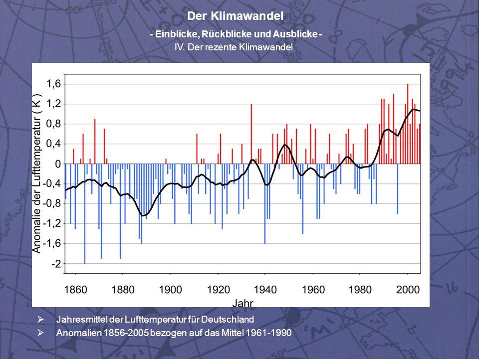 Der Klimawandel - Einblicke, Rückblicke und Ausblicke - IV. Der rezente Klimawandel Jahresmittel der Lufttemperatur für Deutschland Anomalien 1856-200