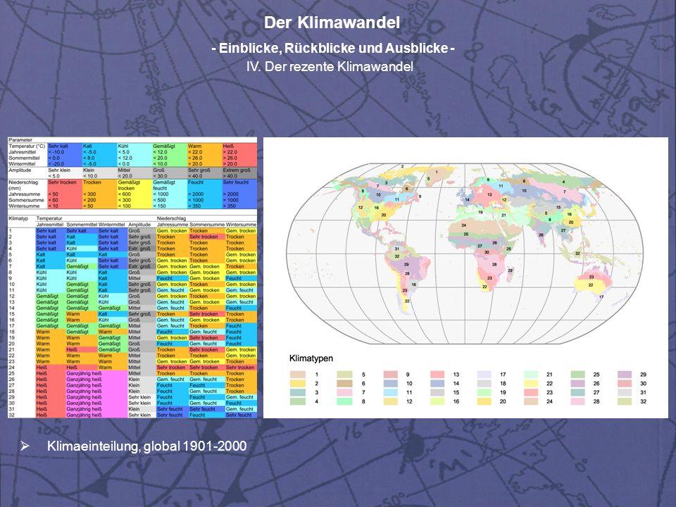 Der Klimawandel - Einblicke, Rückblicke und Ausblicke - IV. Der rezente Klimawandel Klimaeinteilung, global 1901-2000