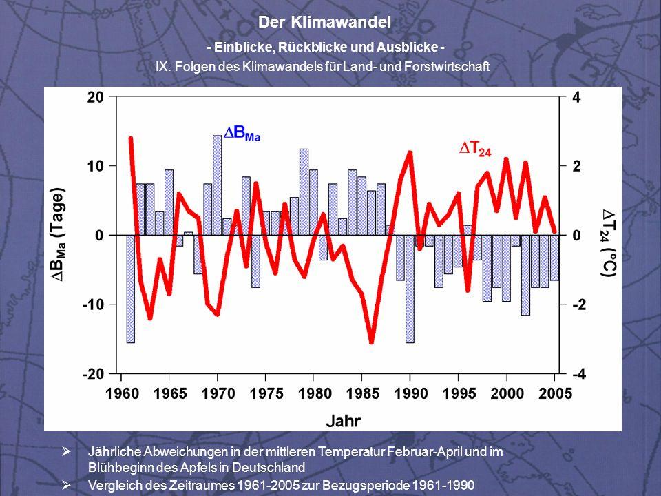 Der Klimawandel - Einblicke, Rückblicke und Ausblicke - IX.