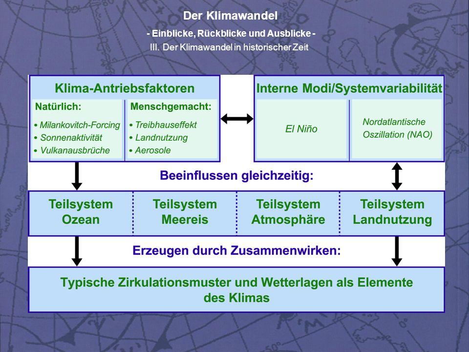 Der Klimawandel - Einblicke, Rückblicke und Ausblicke - III. Der Klimawandel in historischer Zeit
