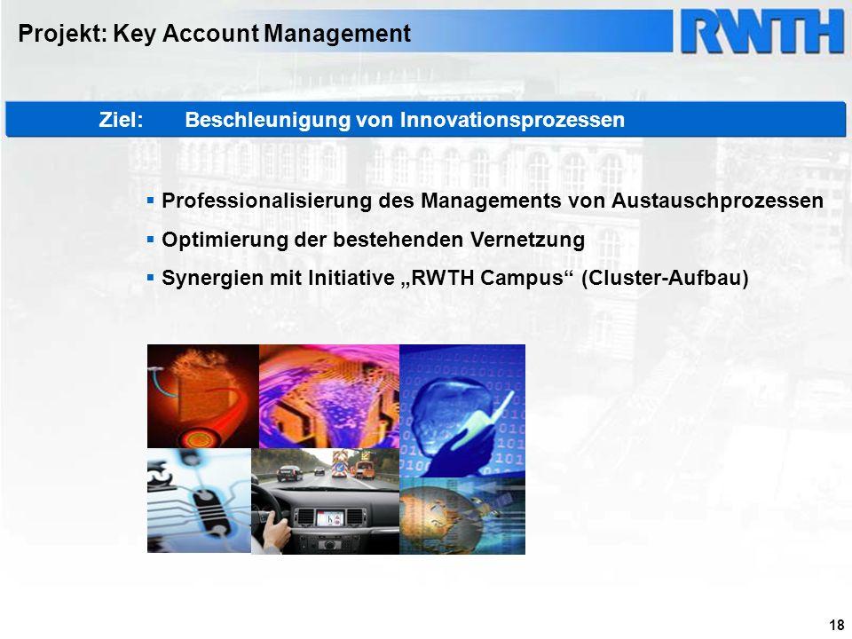 18 Projekt: Key Account Management Ziel: Beschleunigung von Innovationsprozessen Professionalisierung des Managements von Austauschprozessen Optimieru
