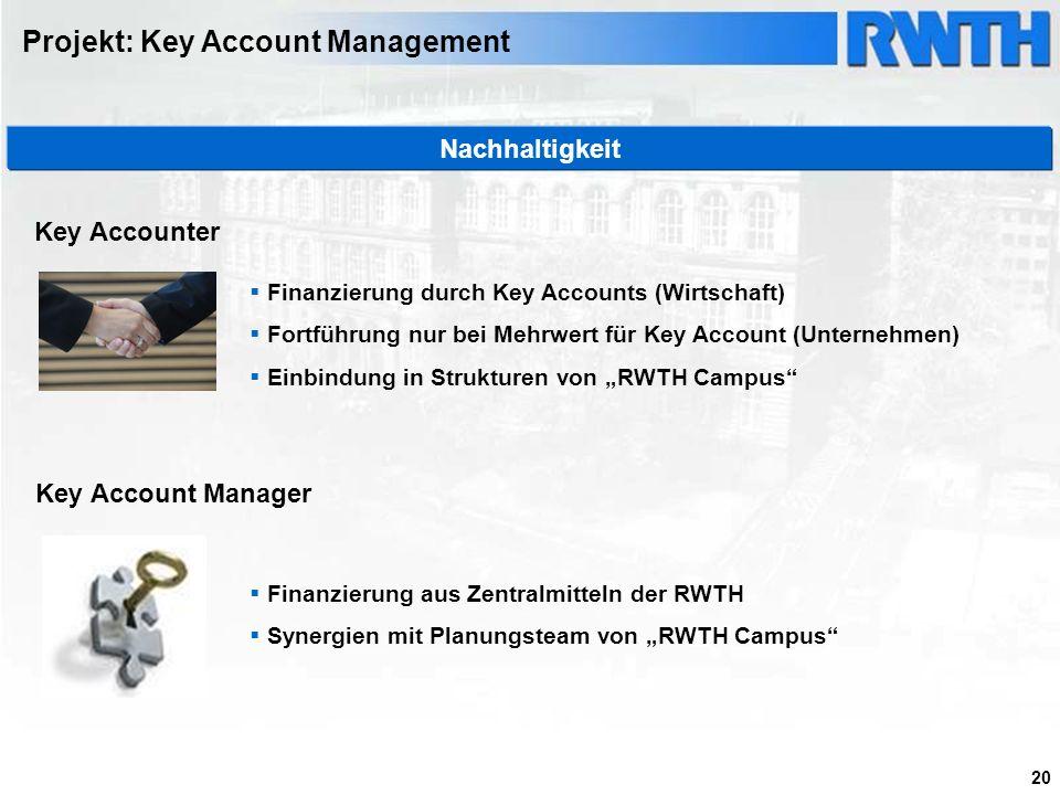20 Finanzierung durch Key Accounts (Wirtschaft) Fortführung nur bei Mehrwert für Key Account (Unternehmen) Einbindung in Strukturen von RWTH Campus Fi