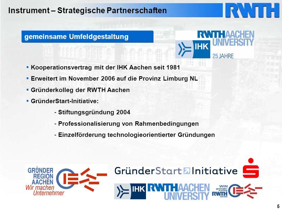 5 Kooperationsvertrag mit der IHK Aachen seit 1981 Erweitert im November 2006 auf die Provinz Limburg NL Gründerkolleg der RWTH Aachen GründerStart-In