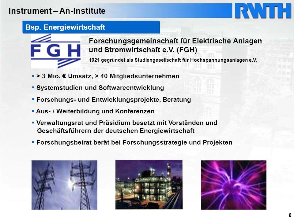 8 Forschungsgemeinschaft für Elektrische Anlagen und Stromwirtschaft e.V. (FGH) 1921 gegründet als Studiengesellschaft für Hochspannungsanlagen e.V. >