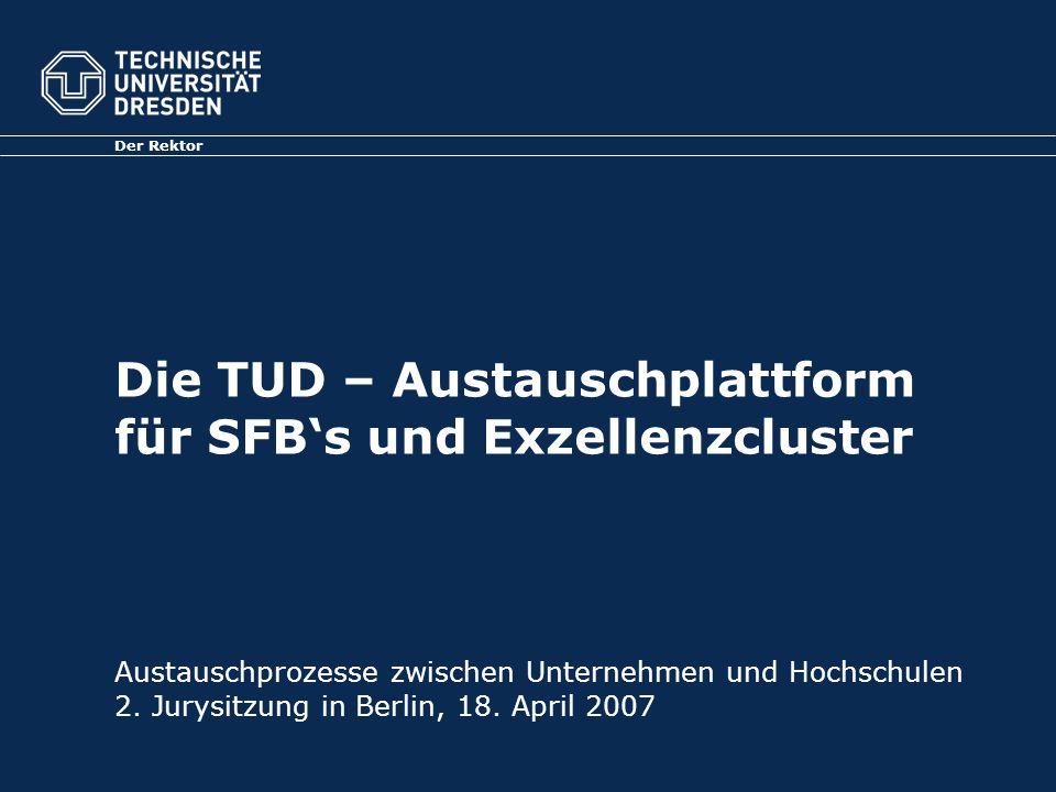 Die TUD – Austauschplattform für SFBs und Exzellenzcluster Der Rektor Austauschprozesse zwischen Unternehmen und Hochschulen 2.