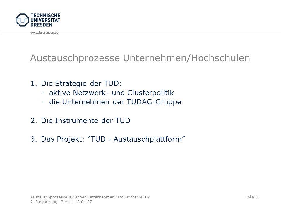 www.tu-dresden.de Austauschprozesse zwischen Unternehmen und Hochschulen 2.