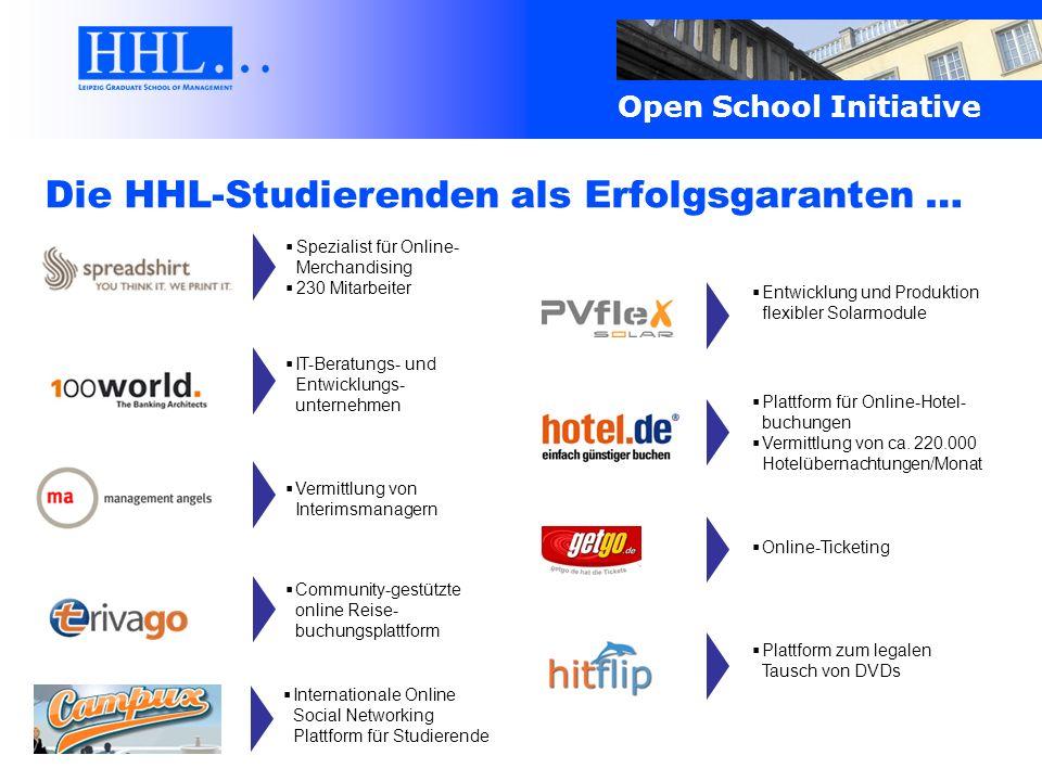 Open School Initiative Die HHL-Studierenden als Erfolgsgaranten … Spezialist für Online- Merchandising 230 Mitarbeiter Plattform für Online-Hotel- buc