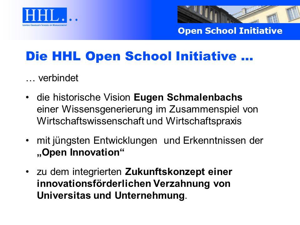 Open School Initiative Die HHL Open School Initiative … … verbindet die historische Vision Eugen Schmalenbachs einer Wissensgenerierung im Zusammenspi