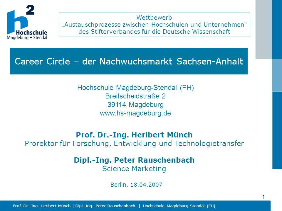 Wettbewerb Austauschprozesse zwischen Hochschulen und Unternehmen des Stifterverbandes für die Deutsche Wissenschaft Prof. Dr.-Ing. Heribert Münch   D