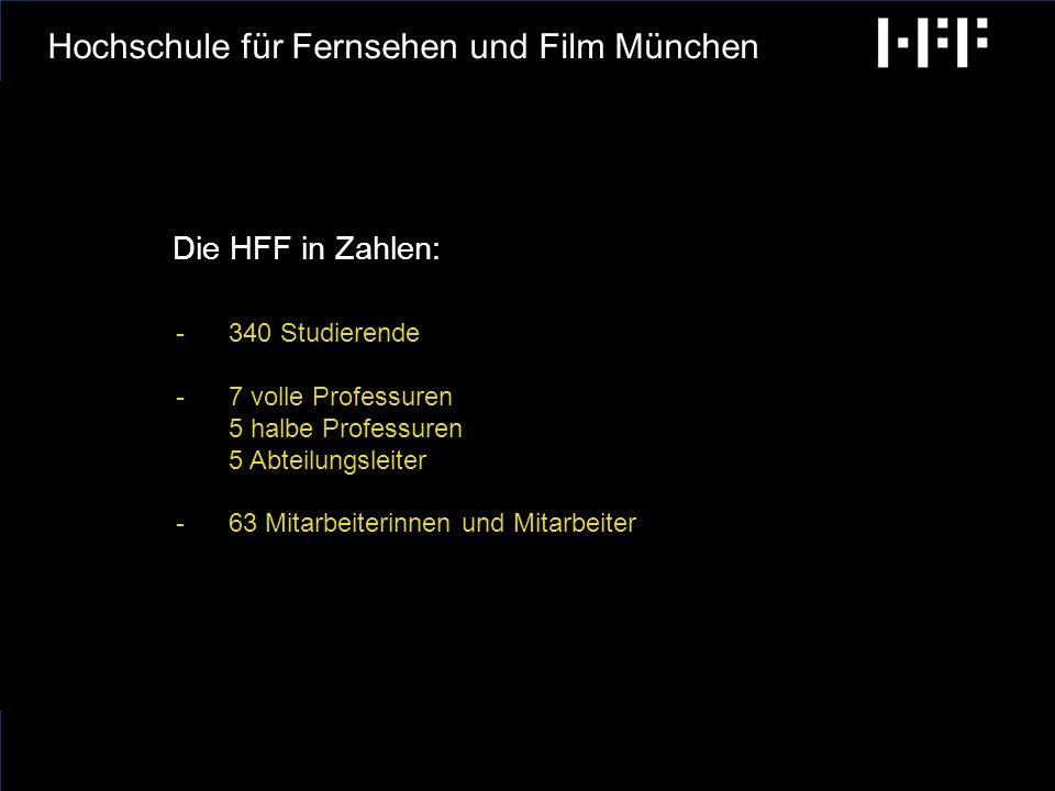 radiobremen GCA Ingenieure AG Hochschule für Fernsehen und Film München Die HFF München ist die einzige Filmhochschule -die ihren Studierenden schon während des Studiums eine unternehmerische Tätigkeit in der Medienbranche gestattet -die in Abteilungen gegliedert ist mit hochrangigen Abteilungsleitern aus der Medienbranche -die die Film- und Fernsehtechnik in einer Technik- Abteilung zusammengefasst hat mit der Einheit von Lehre und Produktion