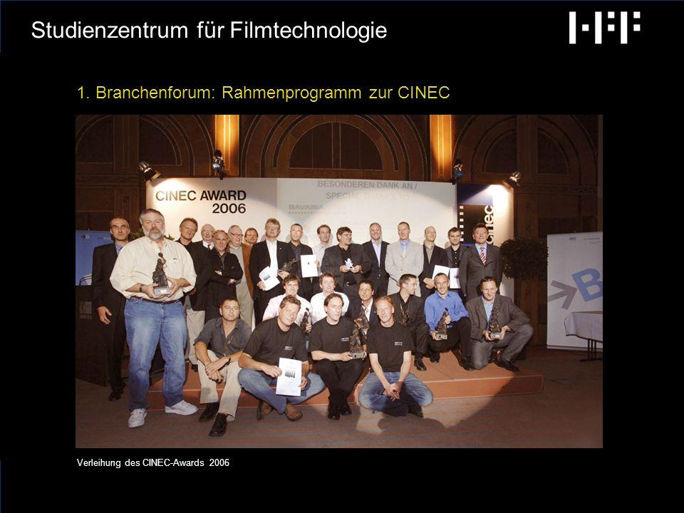 radiobremen GCA Ingenieure AG Hochschule für Fernsehen und Film München Studienzentrum für Filmtechnologie 1.Branchenforum 2.Forschung 3.Weiterbildung 4.Technikgeschichte