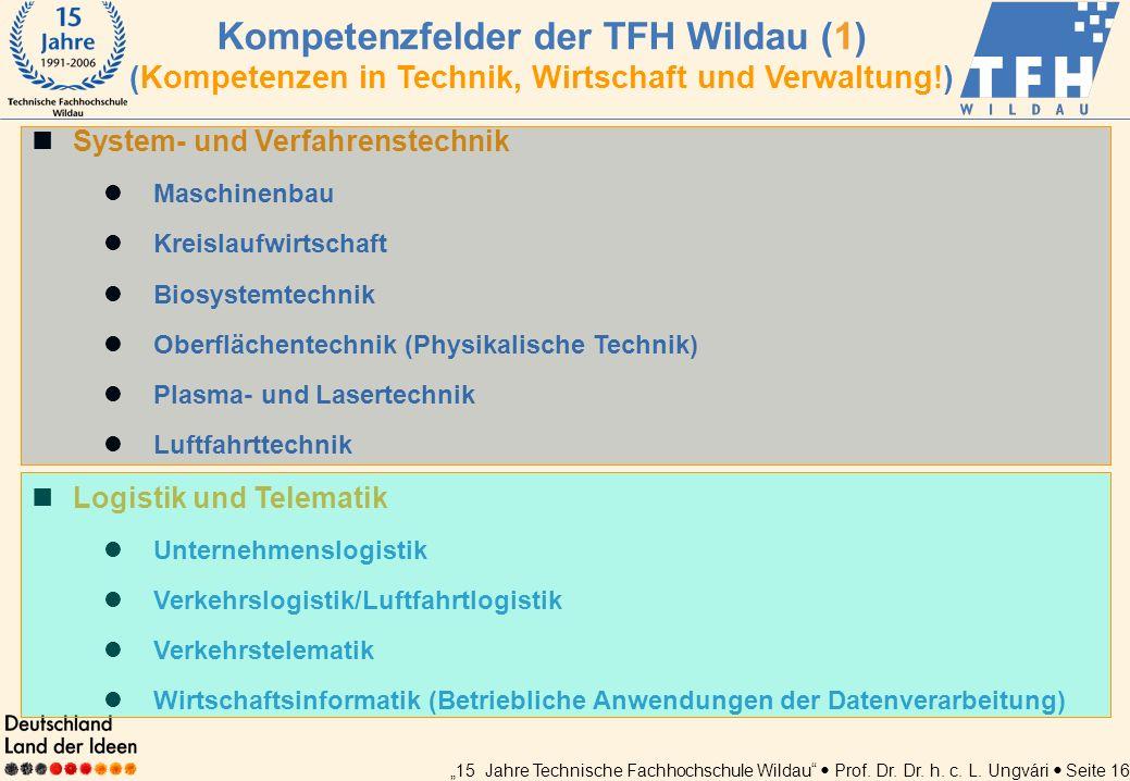 15 Jahre Technische Fachhochschule Wildau Prof. Dr. Dr. h. c. L. Ungvári Seite 16 System- und Verfahrenstechnik Maschinenbau Kreislaufwirtschaft Biosy