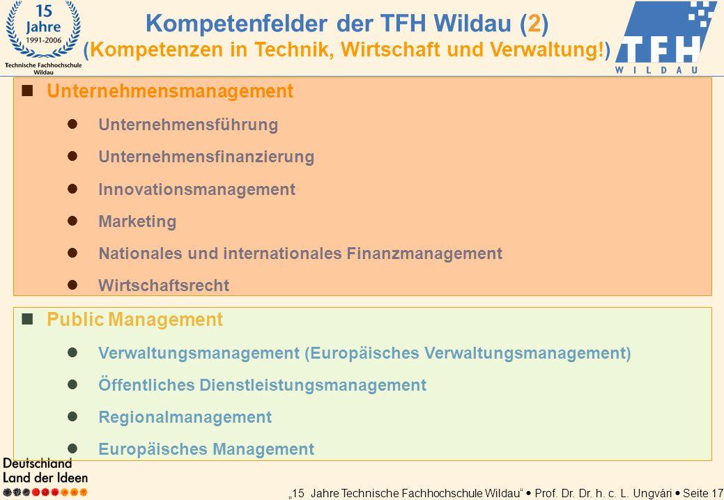 15 Jahre Technische Fachhochschule Wildau Prof. Dr. Dr. h. c. L. Ungvári Seite 17 Unternehmensmanagement Unternehmensführung Unternehmensfinanzierung