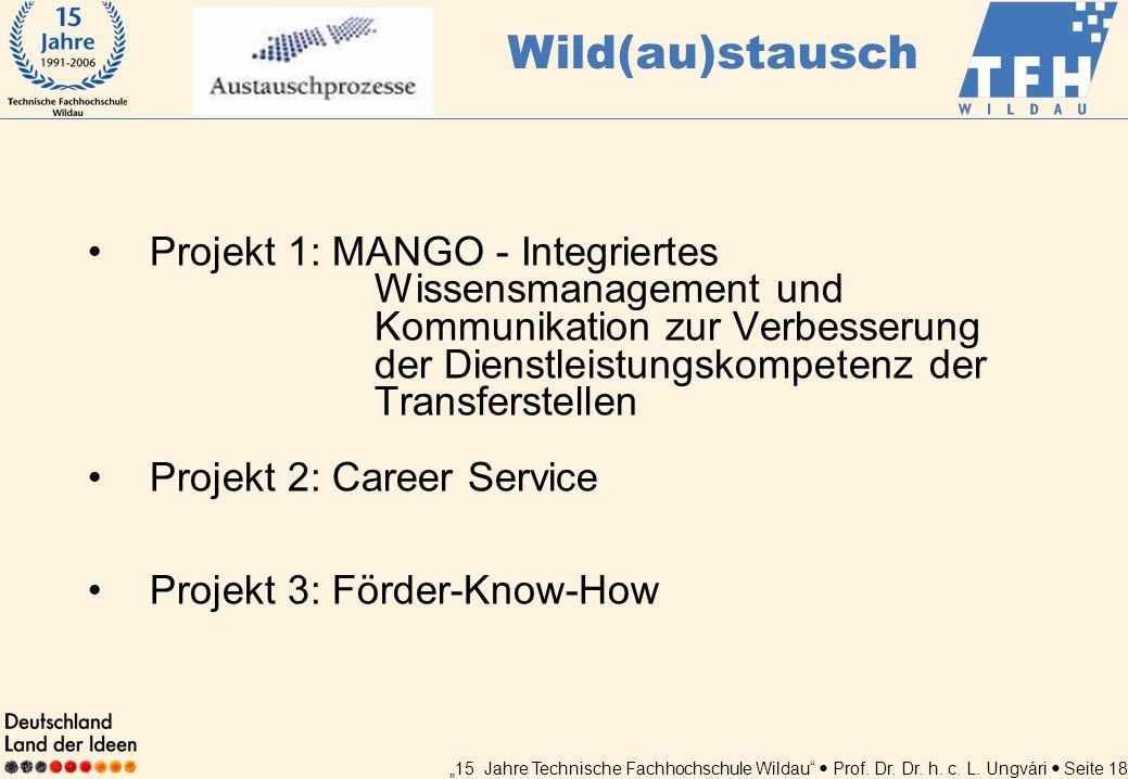 15 Jahre Technische Fachhochschule Wildau Prof. Dr. Dr. h. c. L. Ungvári Seite 18 Projekt 1: MANGO - Integriertes Wissensmanagement und Kommunikation