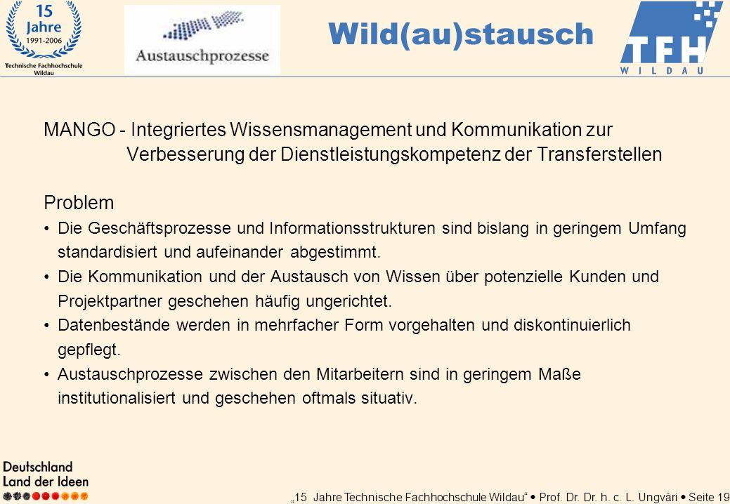 15 Jahre Technische Fachhochschule Wildau Prof. Dr. Dr. h. c. L. Ungvári Seite 19 MANGO - Integriertes Wissensmanagement und Kommunikation zur Verbess
