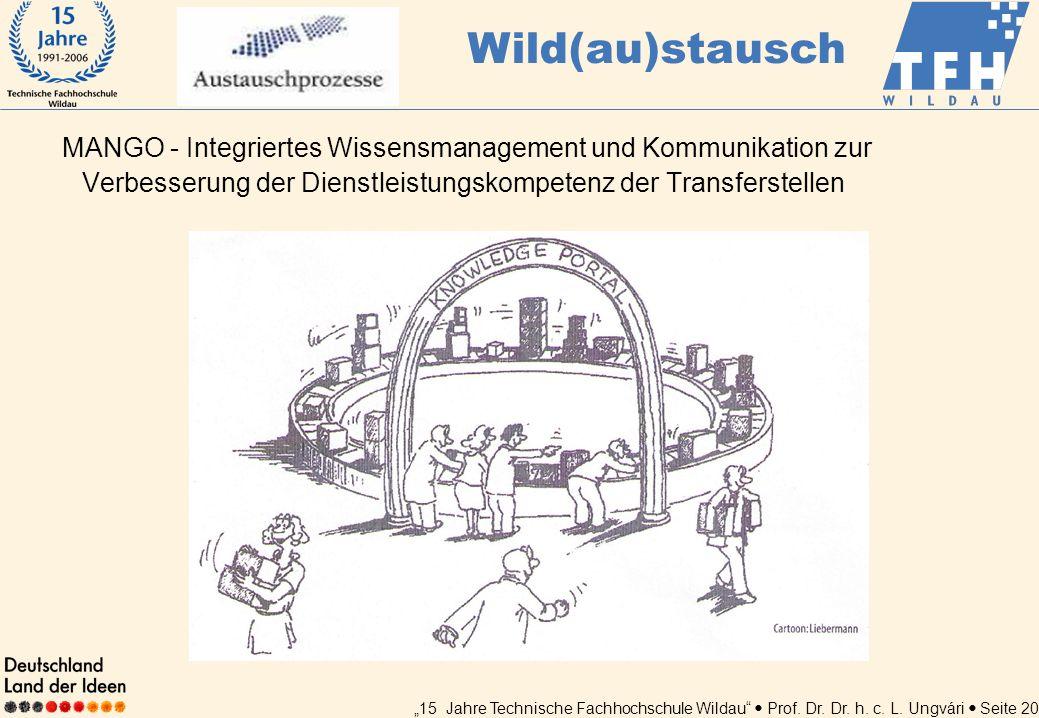 15 Jahre Technische Fachhochschule Wildau Prof. Dr. Dr. h. c. L. Ungvári Seite 20 MANGO - Integriertes Wissensmanagement und Kommunikation zur Verbess