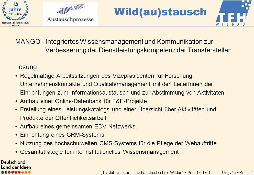 15 Jahre Technische Fachhochschule Wildau Prof. Dr. Dr. h. c. L. Ungvári Seite 21 MANGO - Integriertes Wissensmanagement und Kommunikation zur Verbess