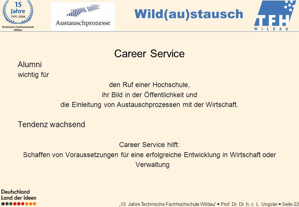 15 Jahre Technische Fachhochschule Wildau Prof. Dr. Dr. h. c. L. Ungvári Seite 22 Career Service Alumni wichtig für den Ruf einer Hochschule, ihr Bild