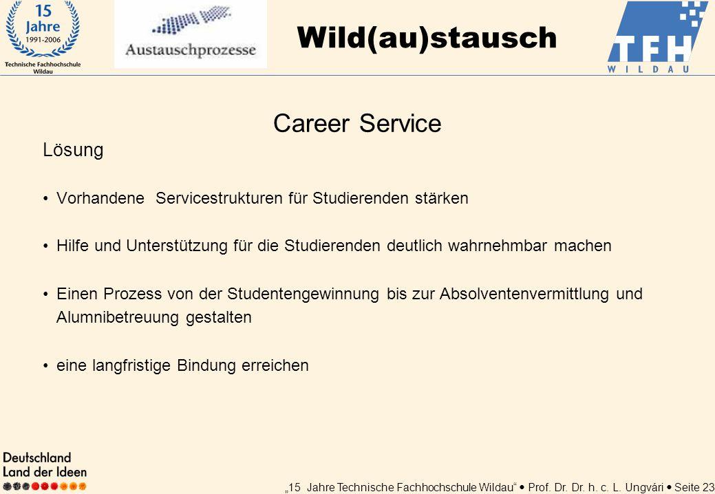 15 Jahre Technische Fachhochschule Wildau Prof. Dr. Dr. h. c. L. Ungvári Seite 23 Career Service Lösung Vorhandene Servicestrukturen für Studierenden