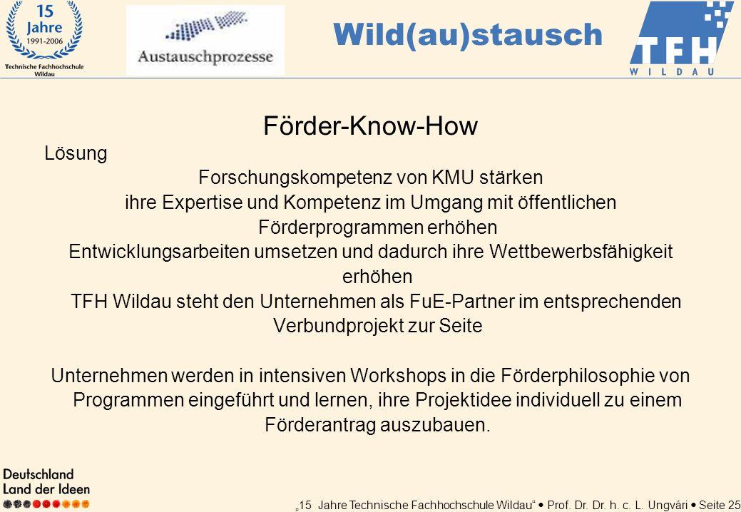 15 Jahre Technische Fachhochschule Wildau Prof. Dr. Dr. h. c. L. Ungvári Seite 25 Förder-Know-How Lösung Forschungskompetenz von KMU stärken ihre Expe