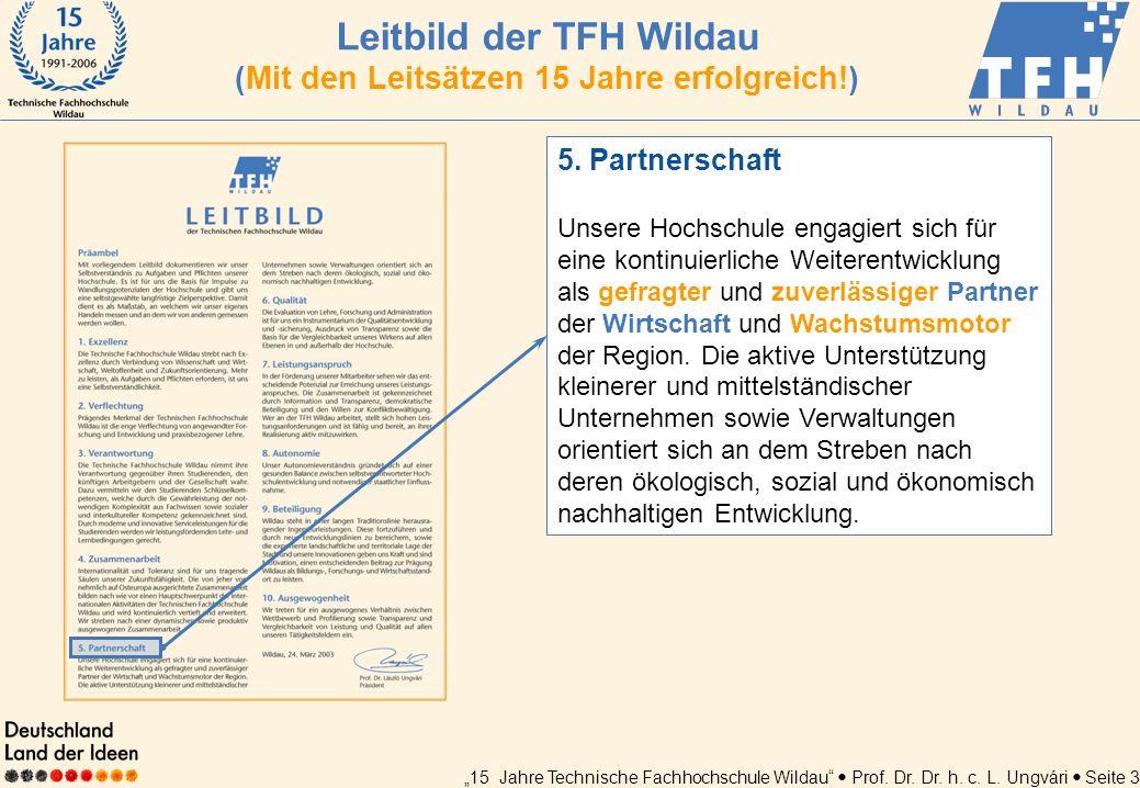 15 Jahre Technische Fachhochschule Wildau Prof. Dr. Dr. h. c. L. Ungvári Seite 3 5. Partnerschaft Unsere Hochschule engagiert sich für eine kontinuier