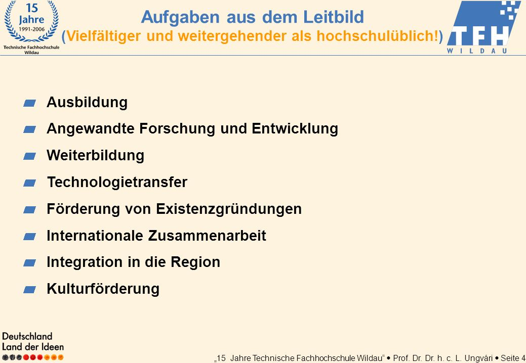 15 Jahre Technische Fachhochschule Wildau Prof. Dr. Dr. h. c. L. Ungvári Seite 4 Ausbildung Angewandte Forschung und Entwicklung Weiterbildung Technol