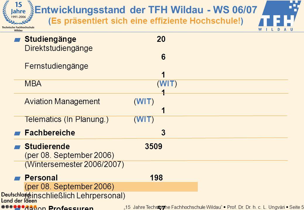15 Jahre Technische Fachhochschule Wildau Prof. Dr. Dr. h. c. L. Ungvári Seite 5 Entwicklungsstand der TFH Wildau - WS 06/07 (Es präsentiert sich eine
