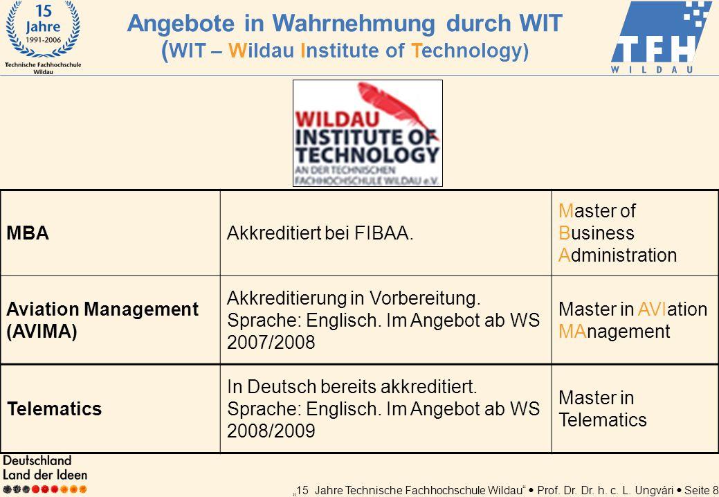 15 Jahre Technische Fachhochschule Wildau Prof. Dr. Dr. h. c. L. Ungvári Seite 8 MBAAkkreditiert bei FIBAA. Master of Business Administration Aviation