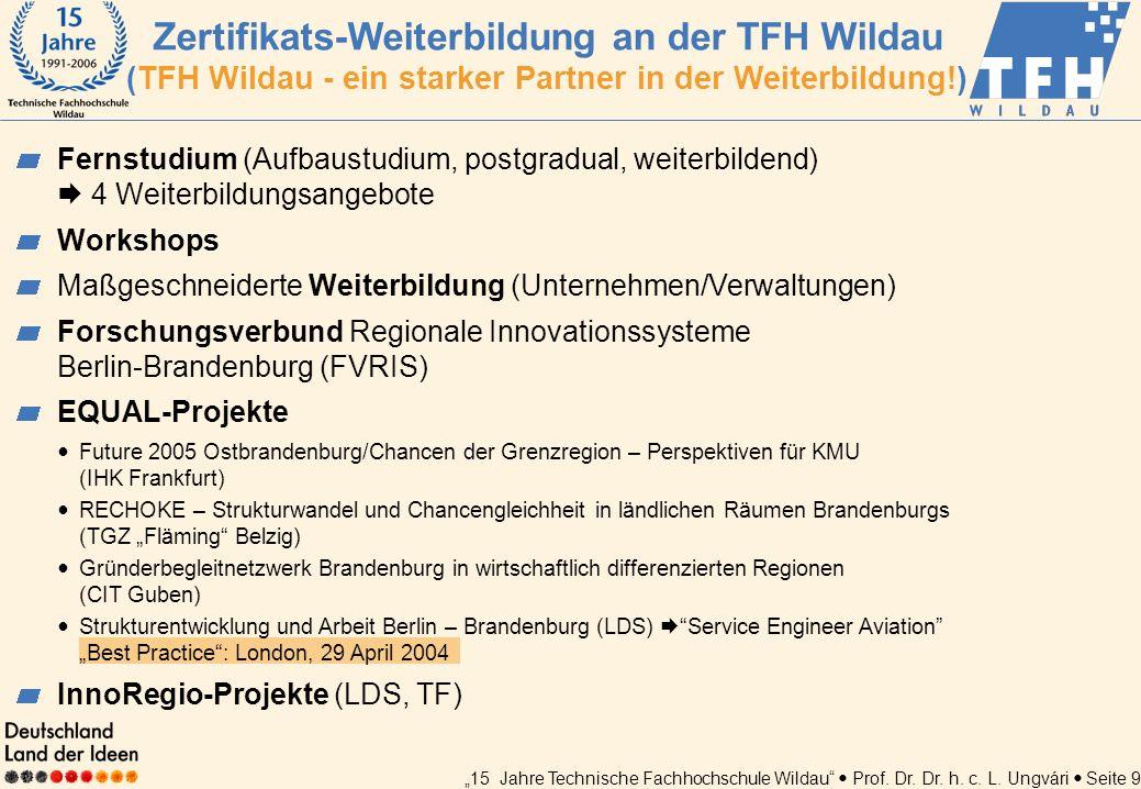 15 Jahre Technische Fachhochschule Wildau Prof. Dr. Dr. h. c. L. Ungvári Seite 9 Fernstudium (Aufbaustudium, postgradual, weiterbildend) 4 Weiterbildu