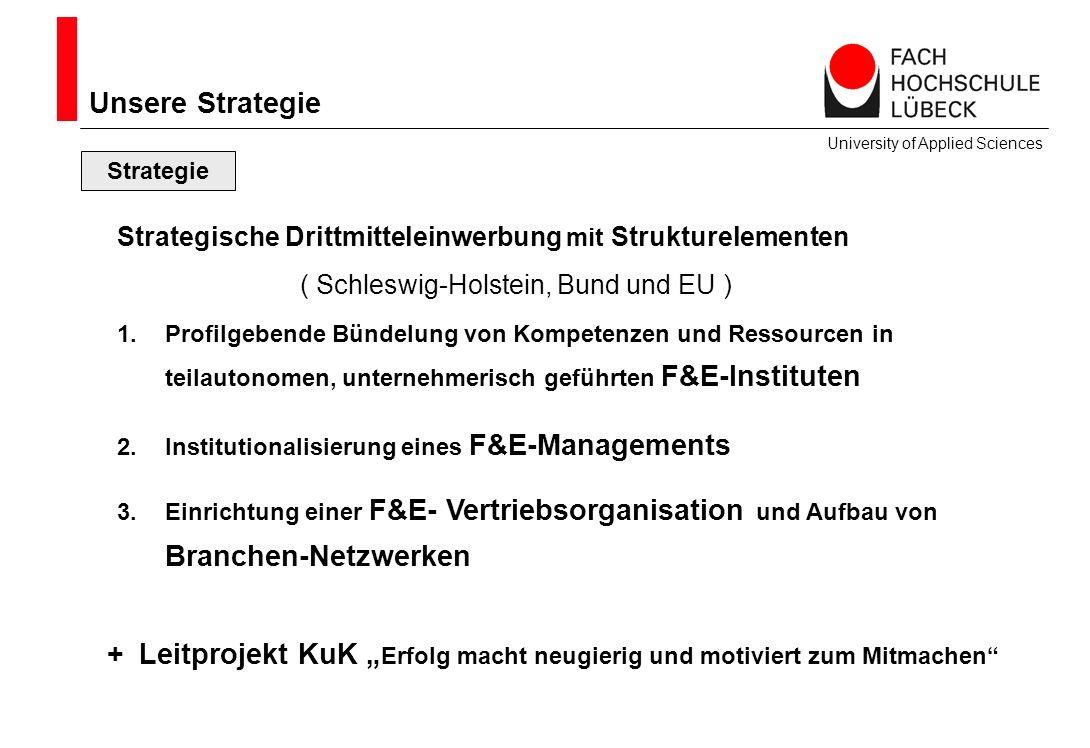 Unsere Strategie Strategie Strategische Drittmitteleinwerbung mit Strukturelementen ( Schleswig-Holstein, Bund und EU ) 1.Profilgebende Bündelung von