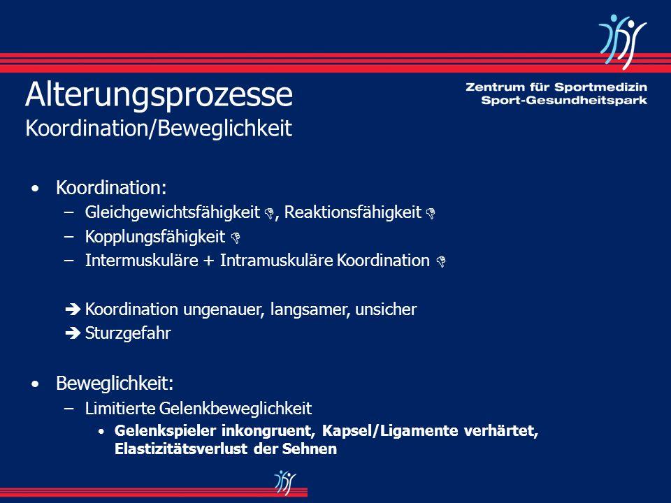 Alterungsprozesse Koordination/Beweglichkeit Koordination: –Gleichgewichtsfähigkeit, Reaktionsfähigkeit –Kopplungsfähigkeit –Intermuskuläre + Intramus