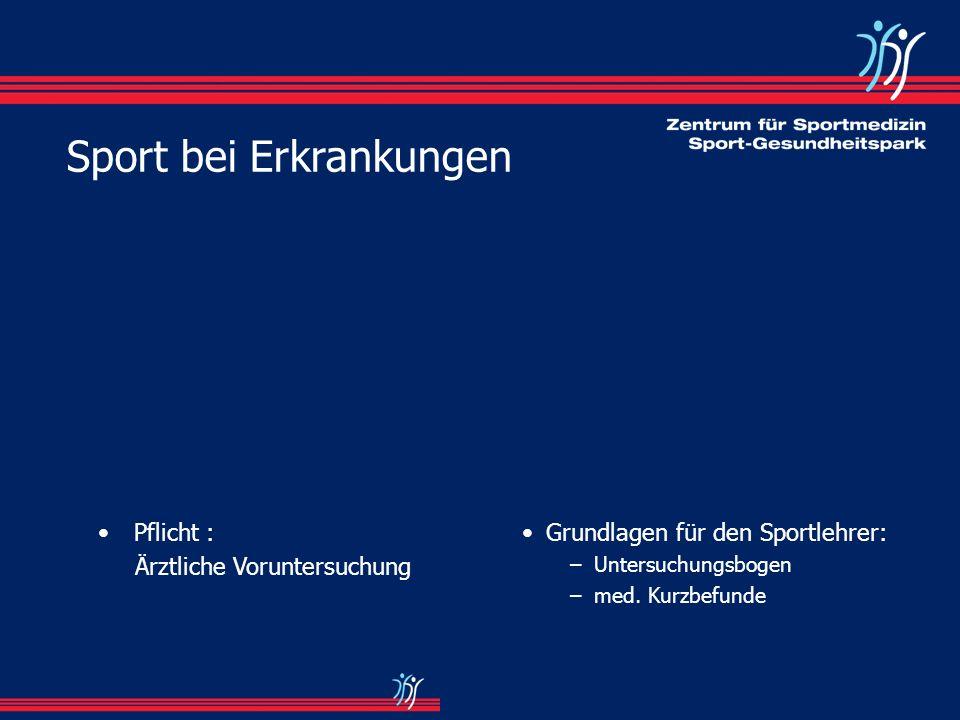 Grundlagen für den Sportlehrer: –Untersuchungsbogen –med. Kurzbefunde Pflicht : Ärztliche Voruntersuchung Sport bei Erkrankungen
