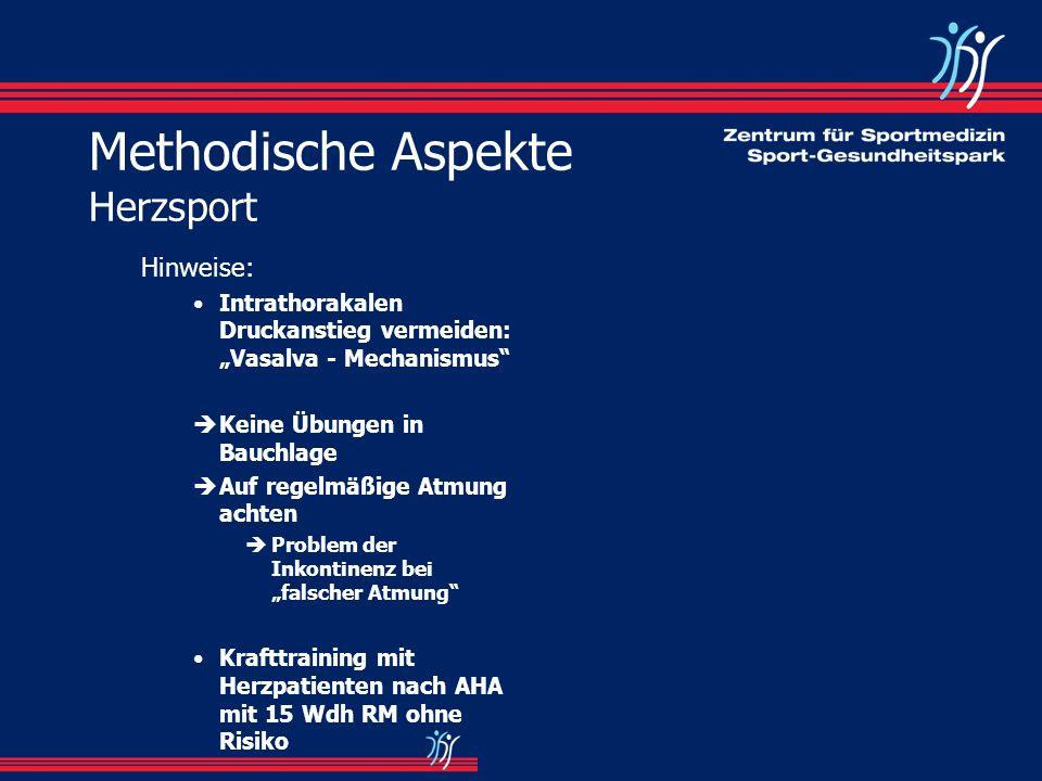 Methodische Aspekte Herzsport Hinweise: Intrathorakalen Druckanstieg vermeiden: Vasalva - Mechanismus èKeine Übungen in Bauchlage èAuf regelmäßige Atm