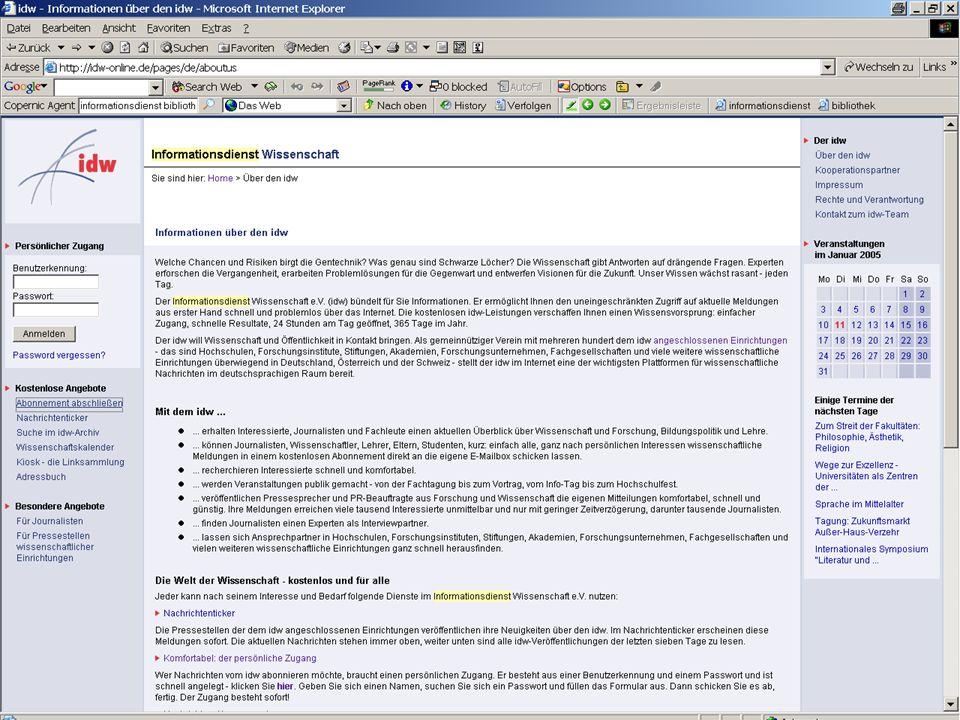 Michael Kluck April 2007 Humboldt-Universität zu Berlin, Institut für Bibliotheks- und Informationswissenschaft, Bereich Fernstudium 17