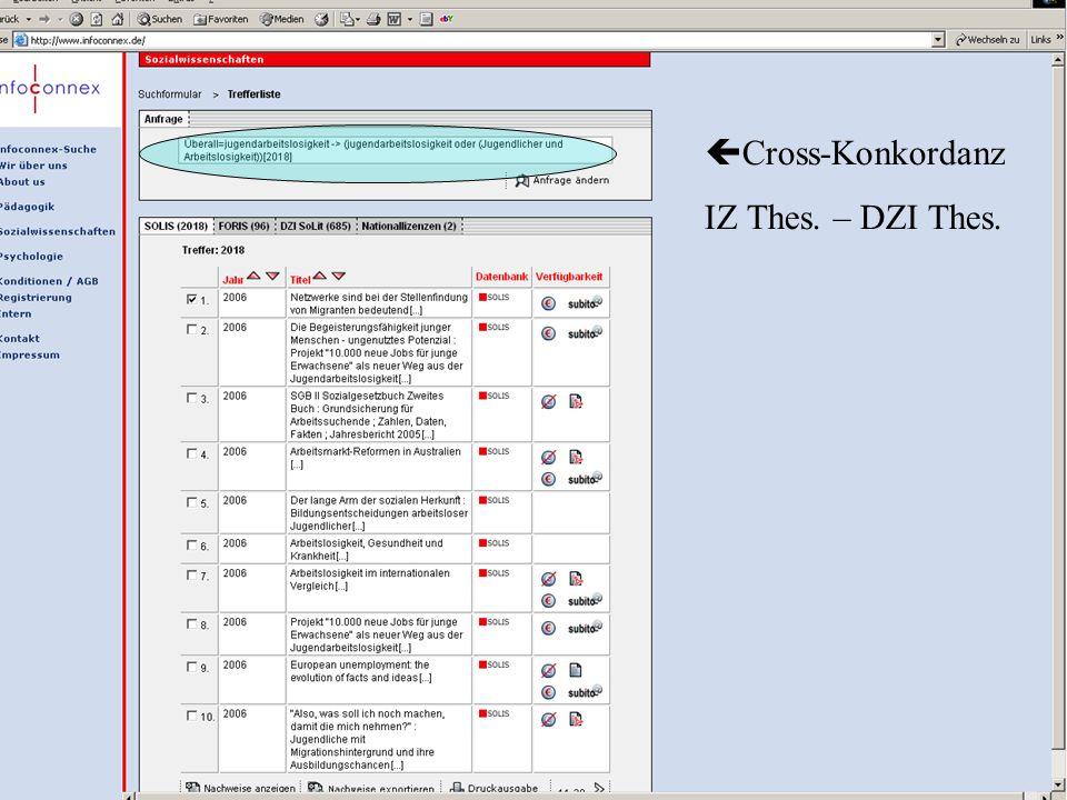 Michael Kluck Juni 2011 Humboldt-Universität zu Berlin, Institut für Bibliotheks- und Informationswissenschaft, Bereich Fernstudium 17 Cross-Konkordan