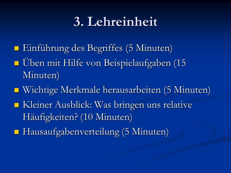 3. Lehreinheit Einführung des Begriffes (5 Minuten) Einführung des Begriffes (5 Minuten) Üben mit Hilfe von Beispielaufgaben (15 Minuten) Üben mit Hil