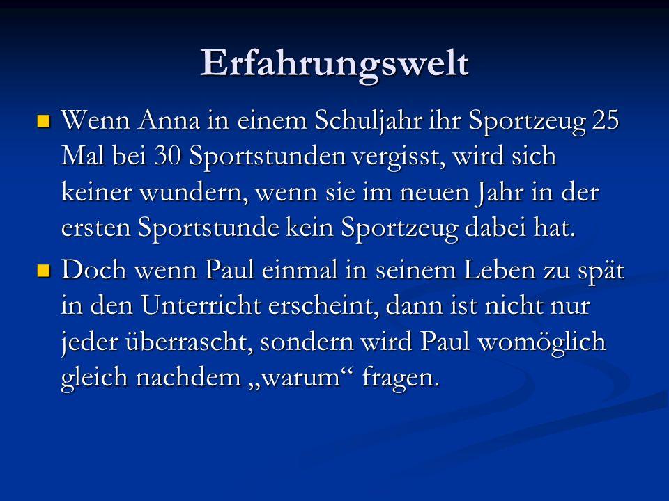 Erfahrungswelt Wenn Anna in einem Schuljahr ihr Sportzeug 25 Mal bei 30 Sportstunden vergisst, wird sich keiner wundern, wenn sie im neuen Jahr in der ersten Sportstunde kein Sportzeug dabei hat.